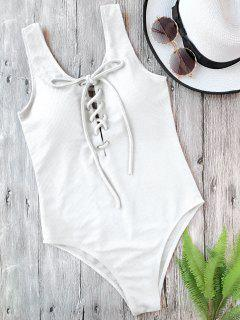 Textured Padded Lace Up One Piece Swimsuit - White S