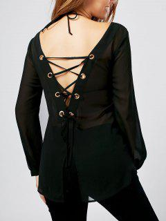 Back Slit Lace Up Sheer Blouse - Black 2xl