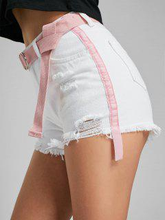 Velvet Insert Ripped Denim Shorts - White M