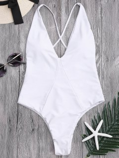 One Piece High Cut Cross Back Swimwear - White Xl
