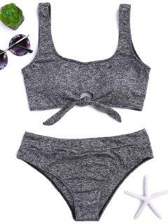 Heathered Front Tied Bikini Set - Gray M