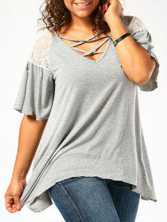 Plus Size Criss Cross Drop Shoulder Tunic T-Shirt - Light Gray 5xl