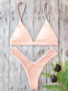 Plunge Padded Textured High Cut Bikini Set - Pink S