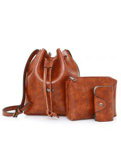3 Pieces Faux Leather Bucket Bag Set - Brown