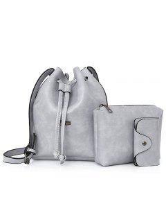 3 Pieces Faux Leather Bucket Bag Set - Gray