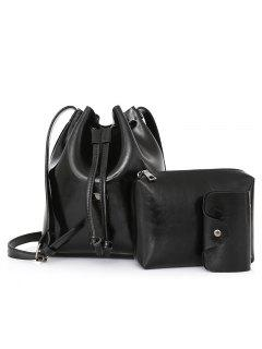 3 Pieces Faux Leather Bucket Bag Set - Black