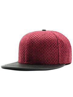 Tiny Plaid Flat Brim Spliced Baseball Hat - Red