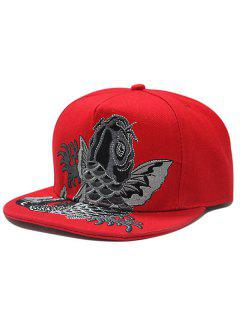 Flat Brim Fancy Carp Embroidery Baseball Hat - Red