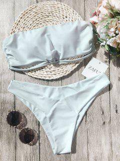 Knot Padded Bandeau Bikini Set - White L