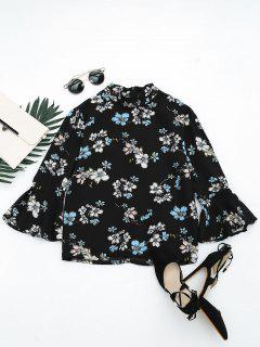 Flare Sleeve Floral Printed Blouse - Black Xl