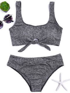 Heathered Front Tied Bikini Set - Gray M