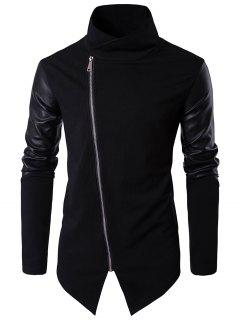 Asymmetrical Zip Faux Leather Panel Pullover Top Asymmetric Hoodie - Black M
