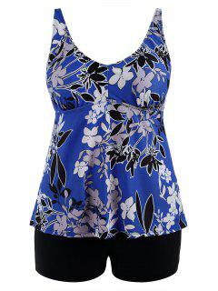 Floral Padded High Waisted Plus Size Tankini Set - Blue 5xl