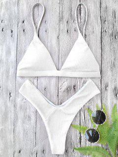 Ensemble Bikini Texturé Rembourré Plongeant à Coupe Haute - Blanc L