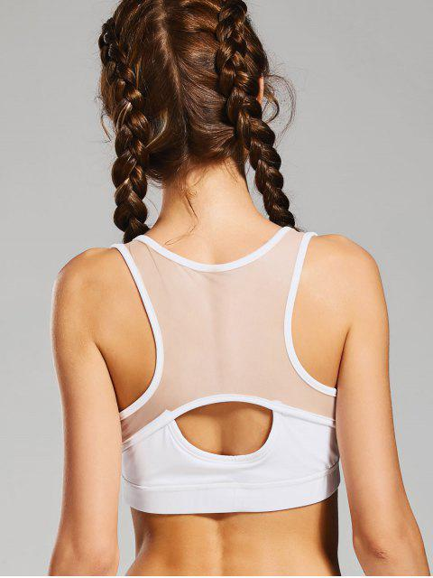 fancy Cut Out Mesh Panel Padded Sports Bra - WHITE L Mobile