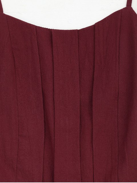 new Side Pockets Cami Romper - WINE RED XL Mobile