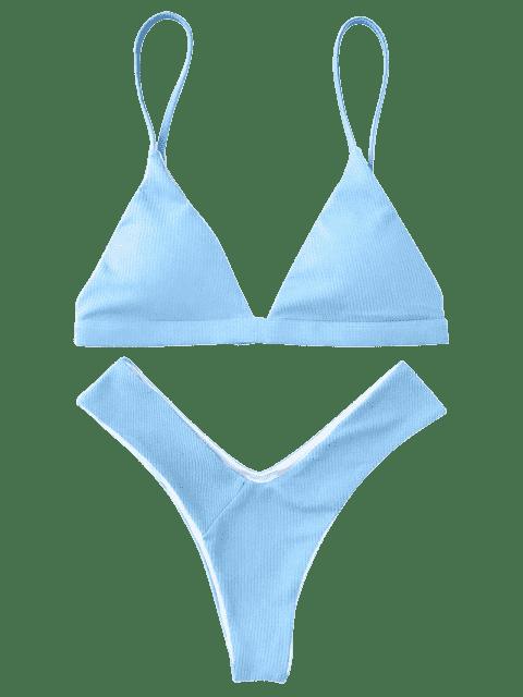 new Plunge Padded Textured High Cut Bikini Set - LIGHT BLUE L Mobile