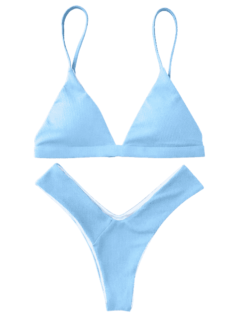 outfit Plunge Padded Textured High Cut Bikini Set - LIGHT BLUE S Mobile