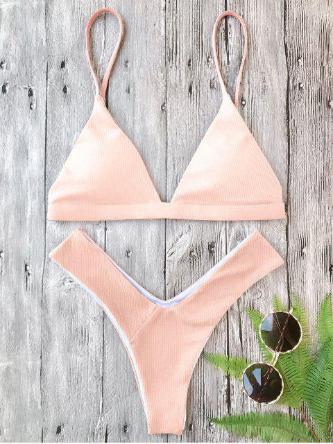 fashion Plunge Padded Textured High Cut Bikini Set - PINK S Mobile