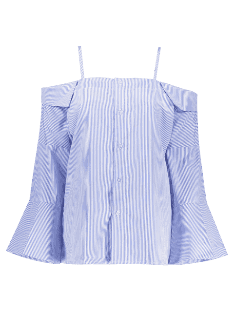 ladies Flare Sleeve Cold Shoulder Blouse - BLUE AND WHITE 2XL Mobile
