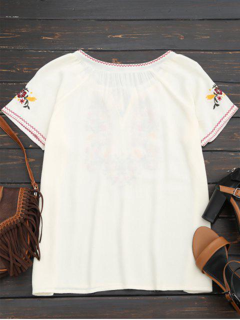 T-shirt à manches courtes en coton - Blanc S Mobile