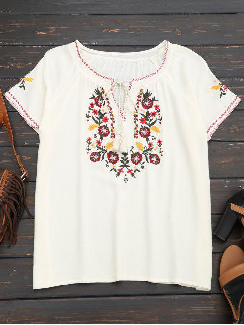 ladies Tassel Embroidered Tie Neck Tee - WHITE S Mobile