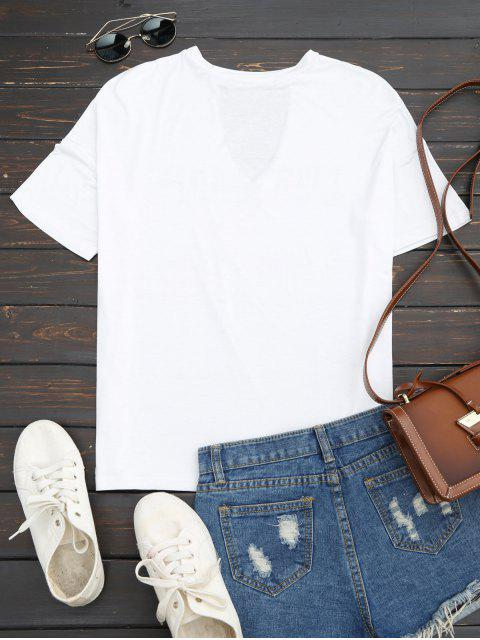 best Loose Letter Cut Out T-Shirt - WHITE M Mobile