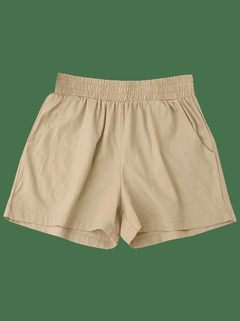 Shorts décontractés à haute taille - Kaki M Mobile