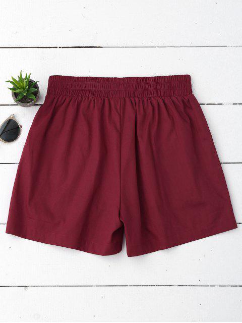 Shorts décontractés à haute taille - Rouge vineux  S Mobile