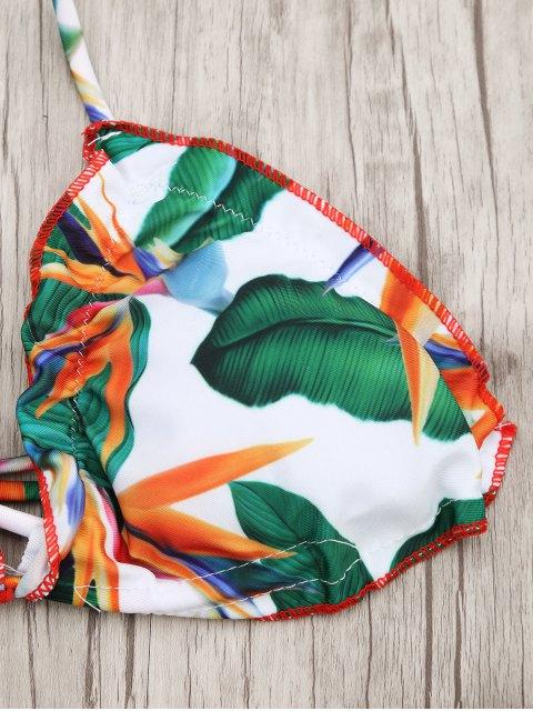 women's Frilled Padded Printed Choker Bikini Set - MULTICOLOR S Mobile