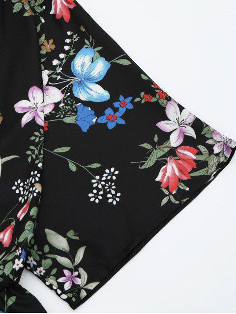 lady Elastic Waist Floral Kimono Romper - BLACK M Mobile