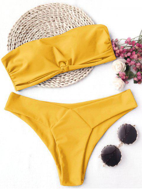 new Knot Padded Bandeau Bikini Set - YELLOW M Mobile