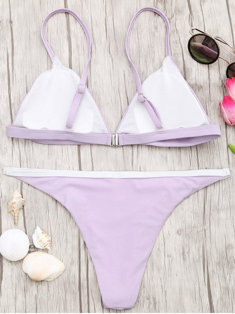 chic Soft Pad Bikini Top and Tanga Bottoms - PURPLE M Mobile
