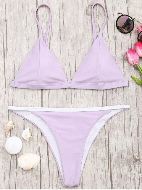 chic Soft Pad Bikini Top and Tanga Bottoms - PURPLE M Mobile