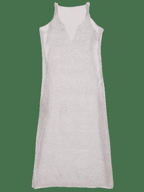 buy Metallic Mesh Beach Cover Up Tank Dress - PURPLE ONE SIZE Mobile