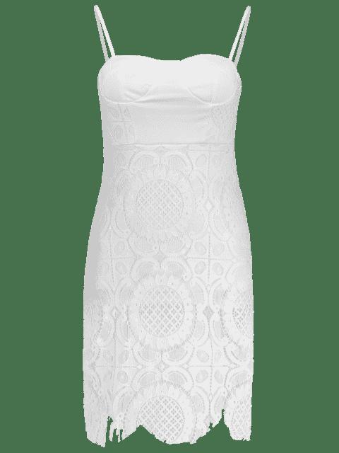 Cami Robe Ajustée en Dentelle à Bretelles - Blanc S Mobile