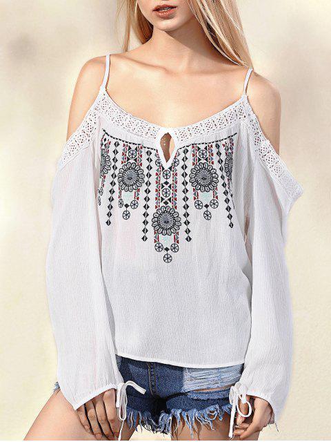 Bordado con hombros de correas espaguetis manga larga blusa - Blanco M Mobile