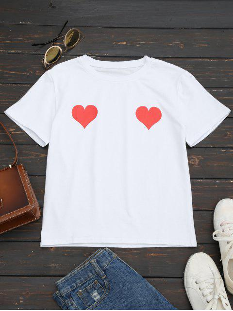 women's Heart Print Round Collar Tee - RED S Mobile