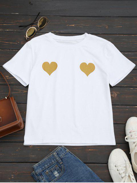 outfit Heart Print Round Collar Tee - GINGER S Mobile