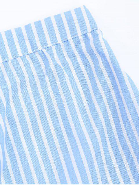 Bottes à boutons à rayures - Bleu clair S Mobile