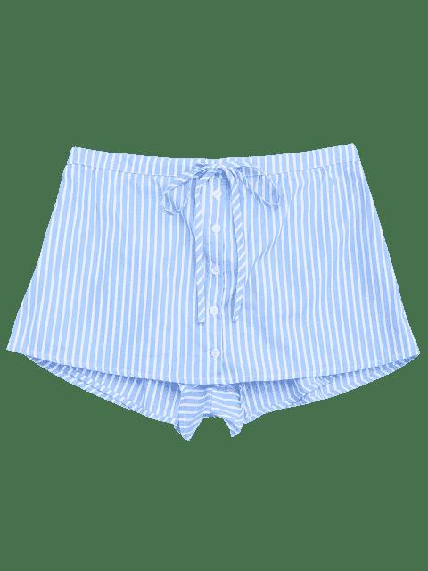 Bottes à boutons à rayures - Bleu clair M Mobile