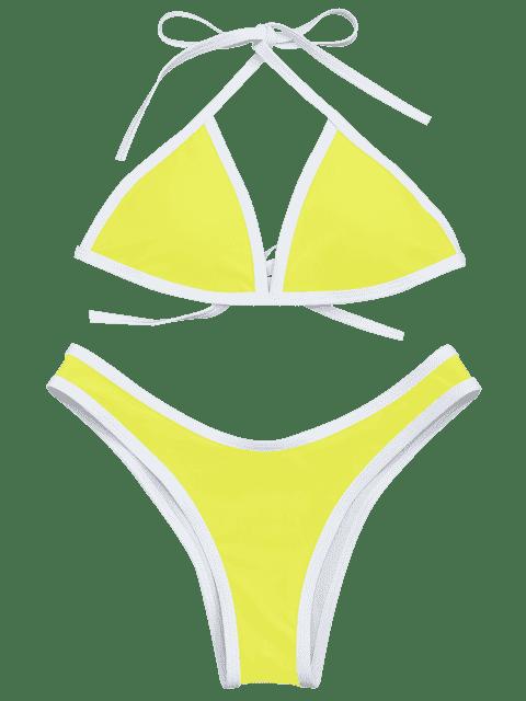lady High Cut Contrast Piping Bikini Set - LEMON YELLOW L Mobile