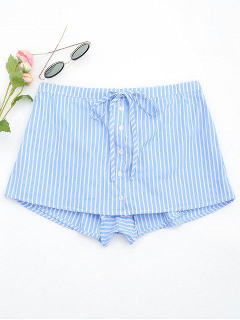 ladies Drawstring Button Up Striped Skorts - LIGHT BLUE L Mobile