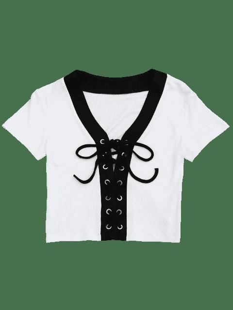 Top en caisse en tricot en dentelle - Blanc L Mobile