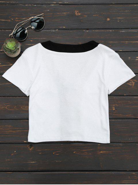 fashion Lace Up Knitted Crop Top - WHITE L Mobile
