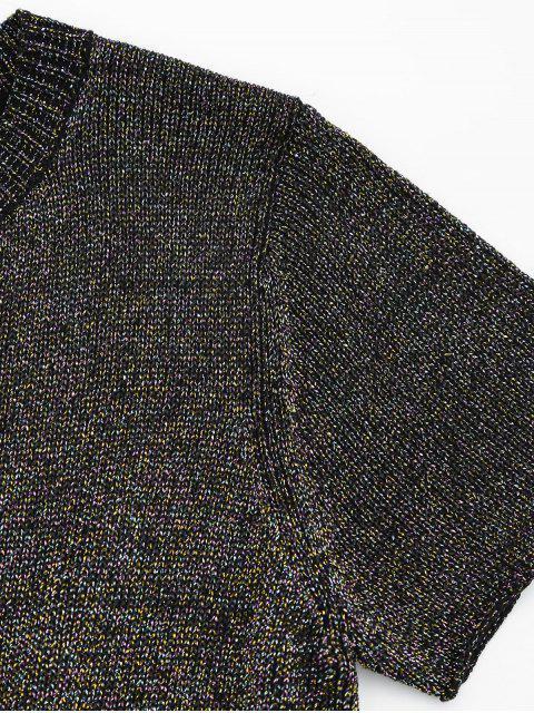 fancy Round Collar Ruffle Hem Glitter Tee - MULTI M Mobile
