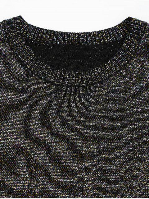 unique Round Collar Ruffle Hem Glitter Tee - MULTI L Mobile