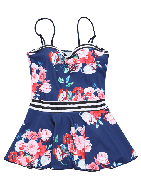 new Skirted Moulded Tankini Top and Bikini Bottoms - NAVY BLUE L Mobile