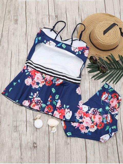 Dessus en tanin moulé bordé et bas de bikini - Bleu Marine S Mobile