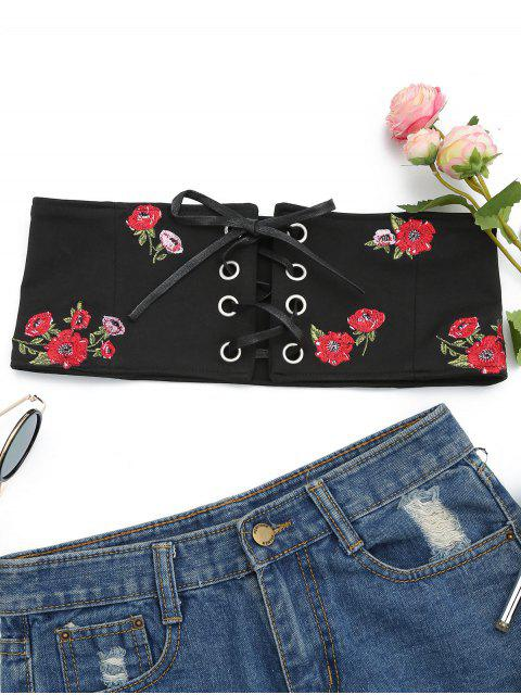 sale Floral Patched Lace Up Bandeau Top - BLACK M Mobile